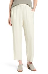 Eileen Fisher Women's Silk Georgette Crepe Straight Ankle Pants Bone