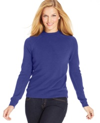 Karen Scott Long Sleeve Mock Turtleneck Sweater Heliotrope