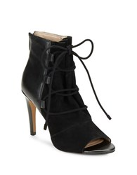 French Connection Quintina Suede And Leather Booties Black