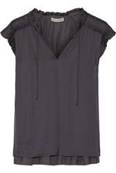 Ulla Johnson Ren Washed Satin Blouse Anthracite