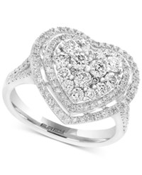 Effy Pave Classica Diamond Heart Ring 1 1 8 Ct. T.W. In 14K White Gold