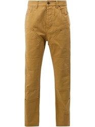 Lanvin Panelled Denim Trousers Yellow And Orange