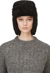 Acne Studios Black Shearling Ambra Trapper Hat