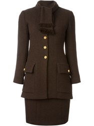 Chanel Vintage Skirt And Blazer Suit Brown