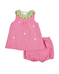 Florence Eiseman Gingham Seersucker Strawberry Dress Fuchsia White Pink White