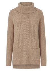 Tulchan Rib And Cable Roll Neck Jumper Natural