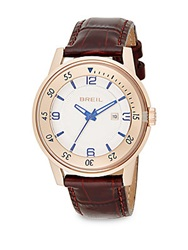 Breil Milano Rose Goldtone Stainless Steel And Embossed Leather Watch Brown Gold