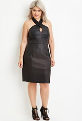 Forever 21 Plus Size Faux Leather Halter Dress Black
