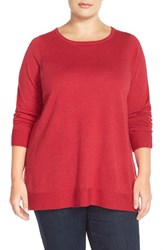 Plus Size Women's Eileen Fisher Ballet Neck Boxy Merino Jersey Sweater Red
