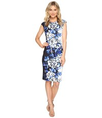 Vince Camuto Printed Extended Cap Sleeve Bodycon Dress Blue Multi Women's Dress