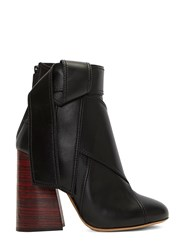 Ellery Suzanna Leather Tie Block Heeled Ankle Boots Black