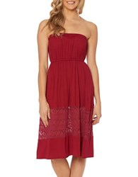 Jessica Simpson Strapless Cover Up Dress Red