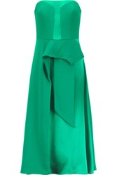 Mikael Aghal Draped Satin And Crepe De Chine Dress Green