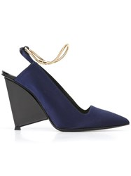 Alain Tondowsky Metallic Ankle Strap Pumps Blue