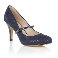Lotus Fuzina Floral Print Mary Jane Courts Navy