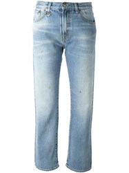 R 13 R13 Straight Legged Cropped Jeans Blue