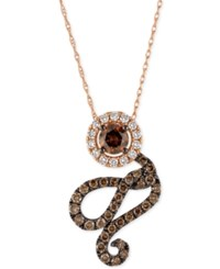 Le Vian Chocolatier Diamond Swirl Pendant Necklace 1 Ct. T.W. In 14K Rose Gold