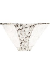 Elle Macpherson Body Shine Printed Stretch Satin And Leavers Lace Briefs Gray