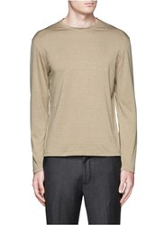 Isaia Silk Cotton Long Sleeve T Shirt Neutral
