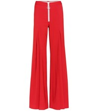 Off White Central Pleat Wool Blend Trousers Red
