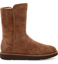 Ugg Abree Short Suede Ankle Boots Dark Brown