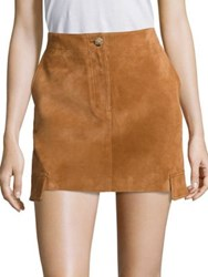 Helmut Lang Cargo Suede Mini Skirt Fawn