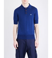 Vivienne Westwood Logo Detail Cotton Knitted Polo Shirt Blue