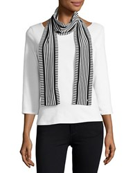 Michael Michael Kors Striped Fashion Scarf New Navy White