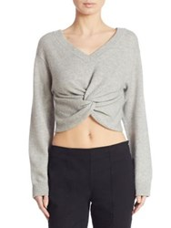 Alexander Wang Twist Front Cropped Wool And Cashmere Sweater Black Heather Grey