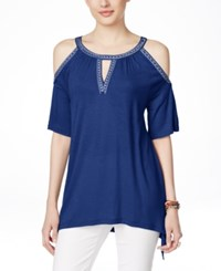 Inc International Concepts Embellished Cold Shoulder Blouse Only At Macy's
