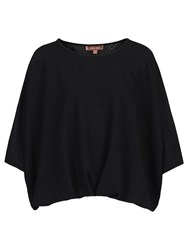 Jolie Moi Ruched Batwing Top Black