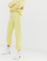 Whistles Limited Fray Hem Turn Up Jeans Yellow