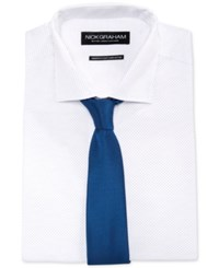 Nick Graham Fitted Navy Pin Dot Dress Shirt And Blue Textured Slim Tie