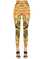 Versace Skinny Printed Stretch Jersey Pants Multicolor