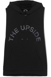The Upside Printed Stretch Cotton Jersey Hoodie Black