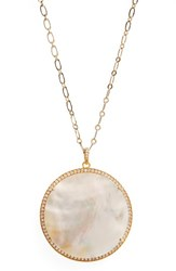 Susan Hanover Women's Large Semiprecious Stone Pendant Necklace Mother Of Pearl Gold