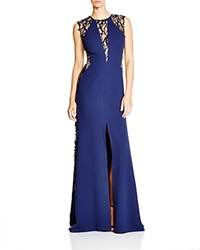 Nicole Bakti Sleeveless Illusion Lace Gown Bloomingdale's Exclusive Navy