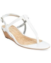 Rampage Selery Demi Wedge Thong Sandals Women's Shoes White