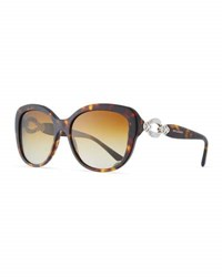 Bulgari Square Gradient Polarized Sunglasses Tortoise Brown Pattern