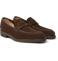 George Cleverley Suede Penny Loafers Brown