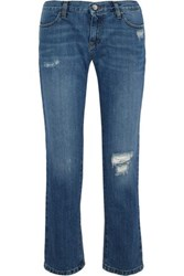 Iris And Ink Karler Distressed Mid Rise Straight Leg Jeans Mid Denim