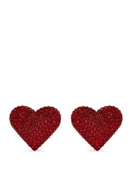 Valentino Heart Embellished Clip On Earrings Red
