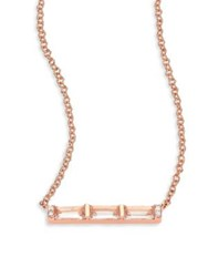 Ef Collection Diamond White Topaz Baguette And 14K Rose Gold Mini Bar Necklace