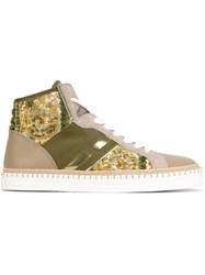 Hogan Rebel Hi Top Sneakers Nude And Neutrals