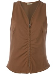Romeo Gigli Vintage V Neck Gilet Brown