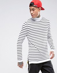 Asos Knitted Striped Jumper With High Neck And Side Zips White