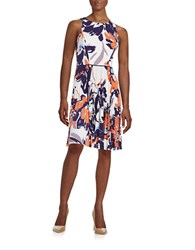 Maggy London Floral Fit And Flare Dress Orange Ivory Blue