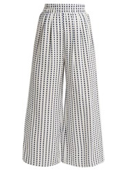 Mara Hoffman Polka Dot High Rise Wide Leg Cotton Trousers Blue White