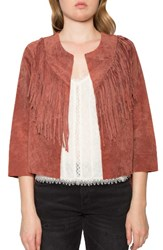 Willow And Clay Women's Crop Fringe Suede Jacket Sienna