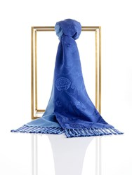Shanghai Tang Lucky Charms Silk Pashmina Scarf With Tassel Blue
